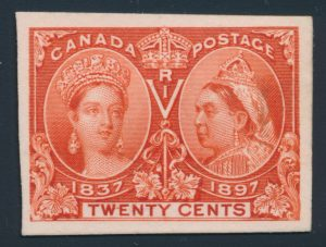Lot 138, Canada 1897 twenty cent deep vermilion Jubilee plate proof with line between W and E