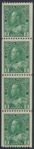 Lot 1547, Canada 1924 two cent yellow green Admiral coil strip of four, VF lightly hinged, sold for C$402