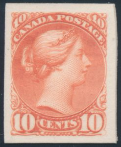 Lot 254, Canada 1890s ten cent Small Queen plate proof in deep salmon pink, sold for C$517