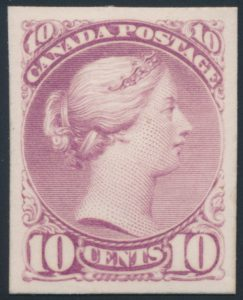 Lot 255, Canada 1874 ten cent Small Queen plate proof in rose lilac, sold for C$517