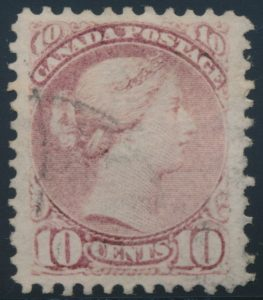 Lot 264, Canada 1874 ten cent dull rose lilac Small Queen, VF used, sold for C$345