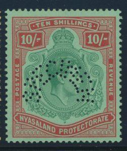 Lot 583, Nyasaland 1938 SPECIMEN set 10sh value