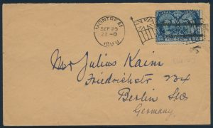 Lot 648, Canada 1897 five cent Jubilee cover Montreal to Berlin, very fine, lot sold for C$603