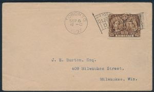 Lot 648, Canada 1897 six cent Jubilee cover Toronto to Milwaukee, very fine, lot sold for C$603