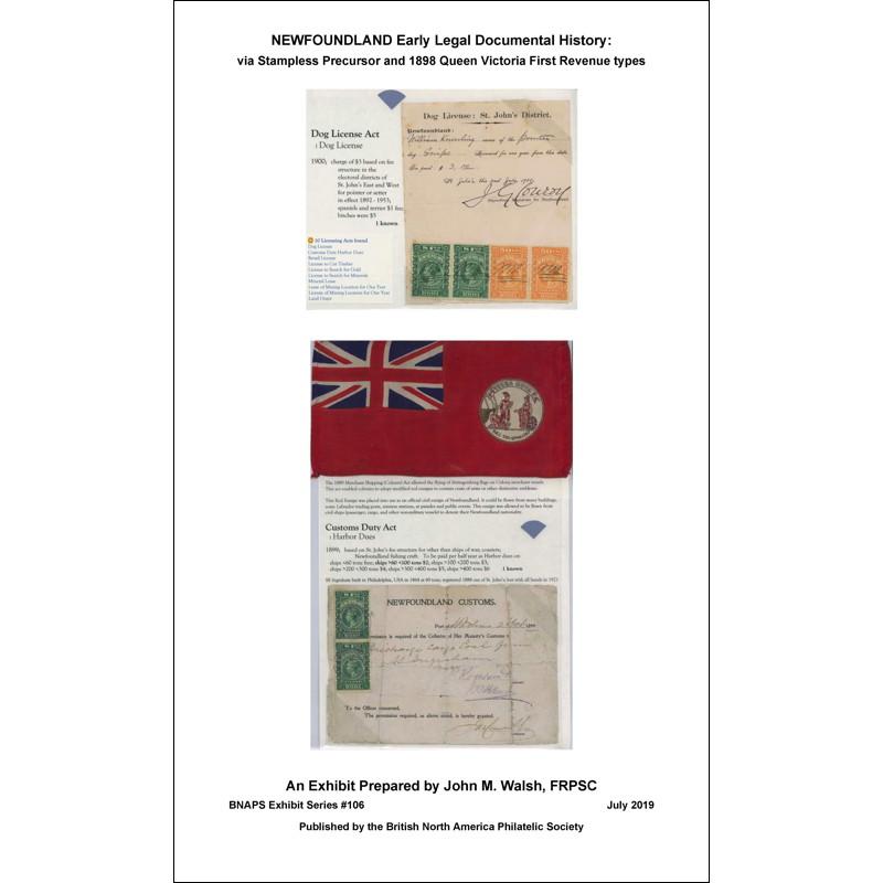 Newfoundland Early Legal Documental History: via Stampless Precursor and 1898 Queen Victoria First Revenue types