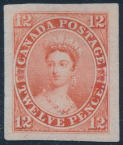 "Lot 12, Canada 1851 twelve penny Victoria ""scar"" Die Proof in vermilion on India paper"