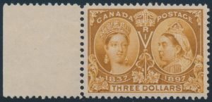 Lot 144, Canada 1897 three dollar yellow bistre Jubilee, XF NH with sheet selvedge