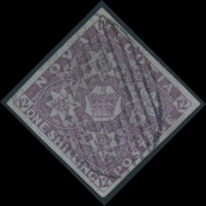 Lot 430, Nova Scotia 1851 one shilling dull violet Heraldic, XF with oval grid cancel