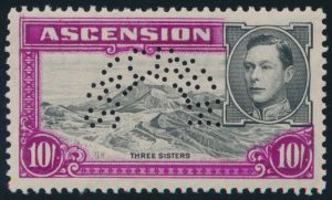 Lot 503, Ascension 1938 definitive issues with curved SPECIMEN (high value)