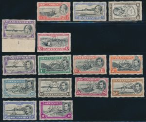 Lot 503, Ascension 1938 definitive issues with curved SPECIMEN