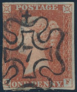 #7, from Lot 553, Great Britain one penny red brown, collection with numerical Maltese Cross cancels