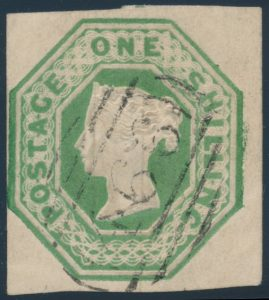 Lot 558, Great Britain 1847 one shilling pale green Victoria, VF with light numeral grid cancel