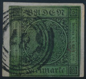 Lot 628, Baden 1851 9kr black numeral on thin blue green paper, forgery