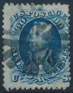 Lot 687, United States 1867 ninety cent blue Washington with Type F grill, and fancy cork cancellation