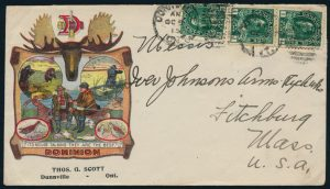 Lot 825, Canada 1915 Illustrated Advertising Cover, Dominion Shells, Dunnsville Ontario to Flitchburg Mass.
