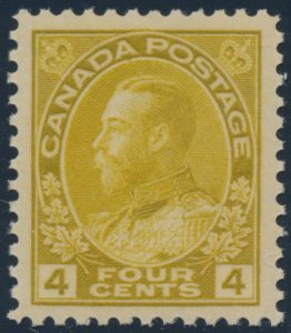 Lot 215, Canada 1922 four cent olive bistre Admiral, wet printing, XF NH, sold for C$292