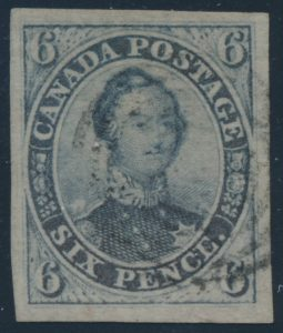 Lot 7, Canada 1851 six pence greyish purple Consort on laid paper, XF with light target cancelsold for C$2,457