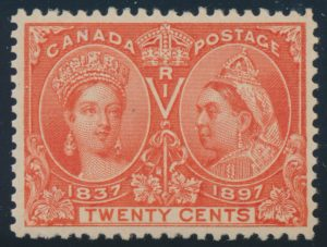 Lot 136, Canada 1897 twenty cent vermilion Jubilee, VF NH, sold for C$672