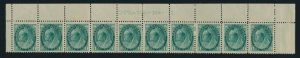 Lot 161, Canada 1898 one cent green Numeral mint strip of ten with plate inscription, sold for C$380