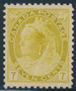 Lot 173, Canada 1902 seven cent olive yellow Numeral, VF NH, sold for C$438