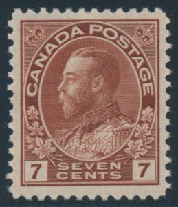 Lot 219, Canada 1924 seven cent red brown Admiral, dry printing on thin paper, VF NH, sold for C$438