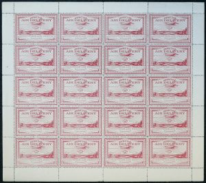 Lot 318, Canada 1924 25c red Laurentide Air Services VF NH pane of 20, sold for C$3,276