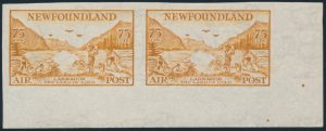 Lot 483, Newfoundland 1933 Air Mail VF set in horizontal pairs, sold for C$2,457