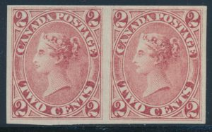 Lot 63, Canada 1859 two cent rose Queen Victoria VF ng horizontal pair, sold for C$3,276