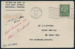 Lot 871, Canada 1928 Moonbeam to James Bay flown covers, sold for C$819