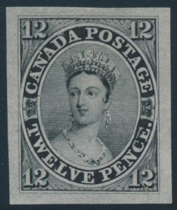 "Lot 13, Canada 1851 twelve penny black ""Scar"" die proof, VF, sold for C$7,956"