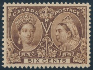 Lot 130, Canada 1897 six cent yellow brown Jubilee, XF NH, sold for C$702