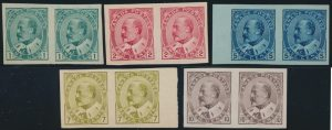Lot 195, Canada 1903-08 King Edward VII imperf VF unused ng pairs, sold for C$2,925