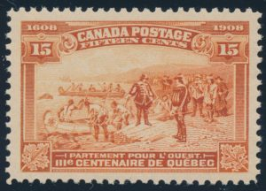 Lot 200, Canada 1908 fifteen cent orange Quebec Tercentenary, VF NH, sold for C$672