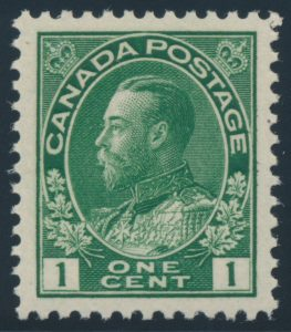 Lot 206, Canada 1911 one cent dark green Admiral, VF NH, sold for C$245