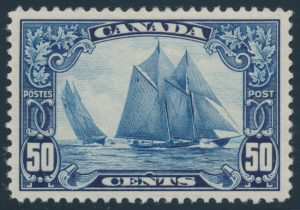 Lot 256, Canada 1929 fifty cent dark blue Bluenose, XF NH, sold for C$351