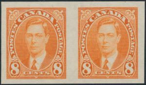 Lot 273, Canada 1937 King George VI mufti set imperf pairs, XF NH, sold for C$1,872