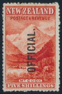 Lot 581, New Zealand 1907 mint Officials, sold for C$409