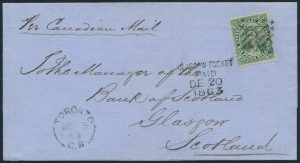Lot 1135, Canada 1863 twelve and a half cent green Victoria on folded cover Toronto to Glasgow, carried on Allan Line