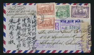 Lot 1194, Canada 1941 Pictorial Issue Registered AR Censored cover, Vancouver to Shanghai