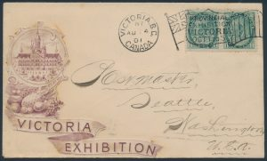 Lot 1280, Canada 1901 Victoria Exposition Flag cancelling 1c Numeral pair