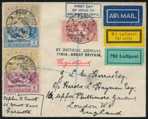 Lot 1471, India 1929 Air Mail Stamps first day of issue flown Registered cover, Calcutta to London