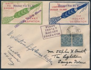 Lot 1587, 1934 India Rocket Mail group, including first firing