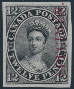 Lot 16, Canada Twelve Penny Black plate proof with carmine SPECIMEN on india paper