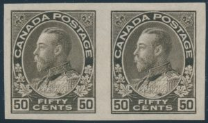 Lot 474, Canada 1925 fifty cent black brown Admiral imperforate horizontal pair, XF NH