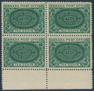 Lot 621, Canada 1898 ten cent deep green Special Delivery block of four, VF NH