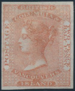 Lot 665, British Columbia & Vancouver Island two and a half pence dull rose Victoria, VF appearing unused