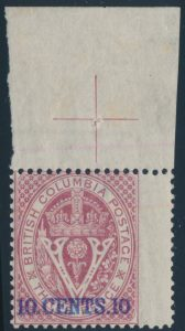 Lot 676, British Columbia 1867 10c on 3d lilac rose Seal of the Colony surcharge, Fine NH