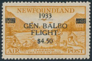 Lot 764, Newfoundland 1933 $4.50 on 75c bistre Balbo Flight surcharge, XF NH