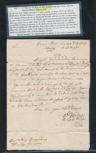 Lot 1102, Canada 1759 first of three folded letters from the Québec Military Campaign to Captain Boughey Skey, group sold for C$53,820