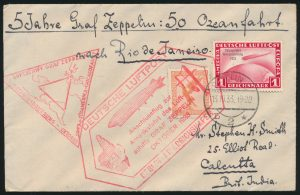 "Ex-Lot 1521, Germany group of flown covers and cards franked with ""Graf Zeppelin Crossing the Ocean"" issues, 1928-1933, sold for C$3,159"